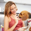Woman Playing With Pet Dog — Stock Photo #50696547