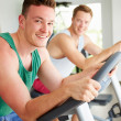Men Training In Gym On Cycling Machines — Stock Photo