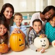 Children Making Halloween Lanterns — Stock Photo