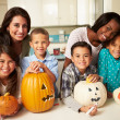 Children Making Halloween Lanterns — Stock Photo #50698251