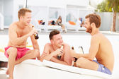 Male Friends  By Pool Together — Stock Photo
