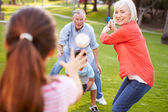Grandparents Playing Baseball With Grandchildren — Stock Photo