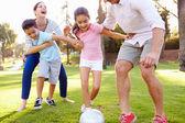 Familj spelar fotboll i parken — Stockfoto