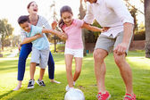 Family Playing Soccer In Park — Stock Photo