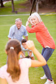 Grandparents Playing Baseball With Grandchildren — Foto Stock