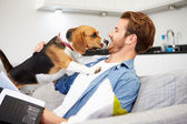 Man Playing With  Dog At Home — Stock Photo