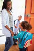 Children  Leave For School — Stockfoto