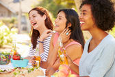 Three Female Friends Enjoying Meal — Stock Photo