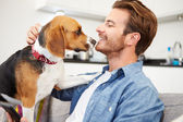Man Playing With Pet Dog — Stock Photo