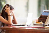 Stressed Teenage Girl Using Laptop — Photo