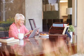 Senior Woman Using Digital Tablet — Foto de Stock