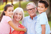 Grandparents With Grandchildren In Park — Foto Stock
