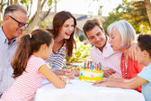 Multi-Generation Family Celebrating Birthday — Stok fotoğraf
