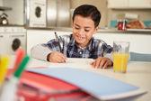 Hispanic Boy Doing Homework — Stock Photo