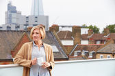 Woman Relaxing On Roof Terrace — Stock Photo