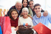 Family Celebrating 70th Birthday — Stock Photo