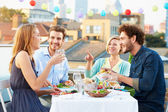 Group Of Friends Eating Meal — Stock Photo