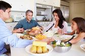Family  Prayer Before Eating Meal — Stock Photo