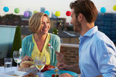 Couple Eating Evening Meal — Stock Photo