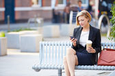Businesswoman  Using Mobile Phone — 图库照片