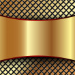 Background with a metallic gold plate and grid — Imagen vectorial