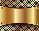Achtergrond met een metalen plaat van goud en het raster — Stockvector