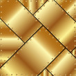 Stock Vector: Metallic background of gold plates