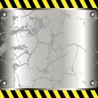 Stockvector : Metallic background with yellow warning stripe