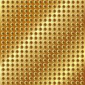 Metallic gold background with screws — Stock Vector
