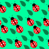 Seamless background with leaves and ladybug — Stock Vector