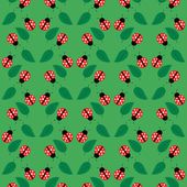 Seamless pattern with ladybugs and leaves — Stock Vector