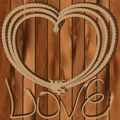 Heart of rope on a wooden background — Vector de stock