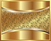 Metalliskt guld bakgrund med ett mönster — Stockvektor