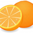 Ripe orange on a white background — Stock vektor