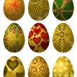 Set of golden Easter eggs - 图库矢量图片