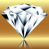 Diamant op een gouden achtergrond — Stockvector