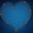 Jeans texture with heart — Vektorgrafik