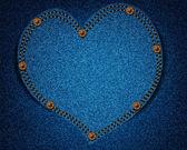 Textura de los pantalones vaqueros con corazón — Vector de stock