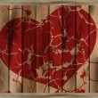 Red heart on a wooden background - Vektorgrafik