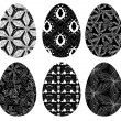 Monochrome set of Easter eggs with pattern 4 - Векторная иллюстрация