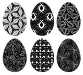 Monochrome set of Easter eggs with pattern 4 — Stock Vector