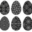 Monochrome set of Easter eggs with pattern 5 - Векторная иллюстрация