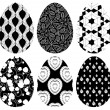 Monochrome set of Easter eggs with pattern - Векторная иллюстрация
