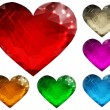 Set of glass hearts polygon - Vettoriali Stock
