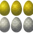 Set of gold and silver Easter eggs - Stock Vector