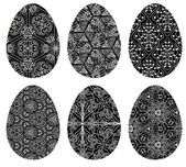 Monochrome set of Easter eggs with pattern 5 — Stock Vector
