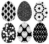 Monochrome set of Easter eggs with pattern — Stock Vector