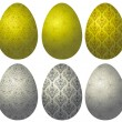 Set of gold and silver Easter eggs 2 — Stock Vector