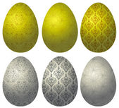 Set of gold and silver Easter eggs 2 — Stock vektor