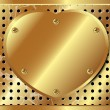 Gold metal heart on the background of perforated metal — Vector de stock #23728295